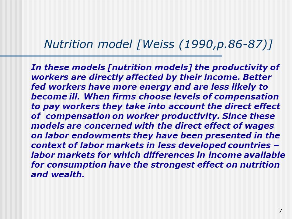 Nutrition model [Weiss (1990,p.86-87)]